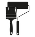 black and white paint roller and brush silhouette vector image