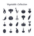 black silhouette isolated vegetable icon set vector image