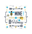 blue and golden cute bee mine honey message card vector image vector image