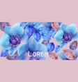 blue orchids watercolor flowers background vector image vector image