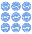 blue tourist stamps welcome signs with airplane vector image vector image