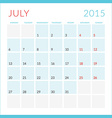 Calendar 2015 flat design template July Week vector image vector image