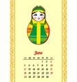 Calendar with nested dolls 2017 Matryoshka vector image vector image