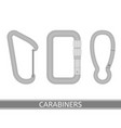 carabiners icon set vector image vector image