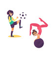 cartoon girls doing sports set vector image vector image