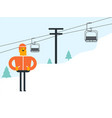 caucasian white skier and cableway at ski resort vector image vector image