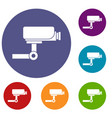 cctv camera icons set vector image vector image