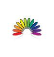 colorful spectrum leaves rainbow logo vector image