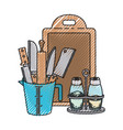 container with knives and rolling pin and salt and vector image vector image