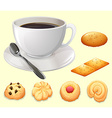 Cup of coffee and cookies vector image vector image