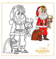 cute boy in santa costume with a bag gifts and vector image vector image