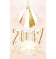 Cute golden 2017 Happy New Year greeting card on vector image vector image
