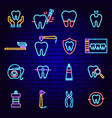 dental neon icons vector image