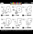 educational alphabet letters coloring book for vector image vector image
