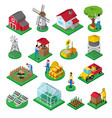 farm facilities workers isometric icons set vector image vector image