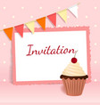 Festive card with cherry cream cake flags frame vector image vector image