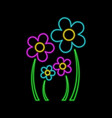 flowers neon sign family concept bright glowing vector image