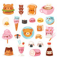 food kawaii cartoon bear expression vector image