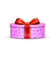 gift box 3d red ribbon bow isolated white vector image