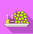 grapes on plate icon flat style vector image