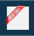great sale - red corner ribbon design vector image vector image