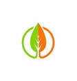 green leaf organic nature icon logo vector image vector image