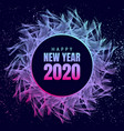 happy new year 2020 neon poster vector image