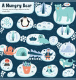 help a hungry bear to find a tasty fish funny vector image