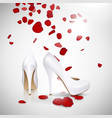 High Heeled Shoes and Rose Petals vector image vector image