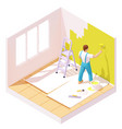 isometric painter painting room wall vector image