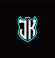 j k initial logo design with shield shape vector image vector image