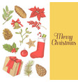 merry christmas greeting card new year hand drawn vector image vector image