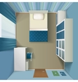 Modern Bedroom interior Realistic Top View vector image vector image