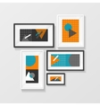 Modern Picture Frame Set Hanging on Wall vector image vector image