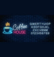 neon coffee house signboard with alphabet on a vector image vector image