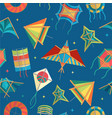 paper kites different shapes fly on sky vector image vector image