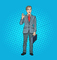 pop art successful businessman gesturing ok vector image vector image
