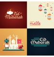 Postcard templates set with islamic culture icons vector image vector image