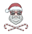 Santa Claus biker with candy cones and hipster vector image vector image