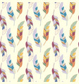 seamless pattern with various colorful feathers on vector image vector image