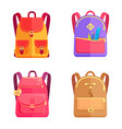 set of colorful rucksacks for girls or boys vector image