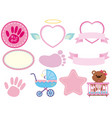 set of pink baby sticker vector image