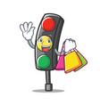 shopping traffic light character cartoon vector image