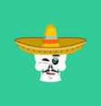 skull in sombrero winking emoji mexican skeleton vector image vector image