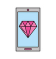 smartphone with luxury diamond isolated icon vector image vector image