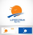 Sun logo tourism holiday travel agency vector image