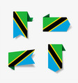 tanzanian flag stickers and labels vector image vector image