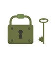vintage key and lock cartoon vector image vector image