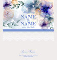 wedding card with watercolor blue flowers vector image vector image