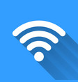White WiFi icon with long shadow on blue vector image vector image